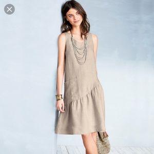 Garnet Hill Dresses - NEW Garnet Hill 100% Linen Ruffle Hem Tank Dress 6